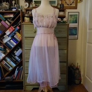 Pretty in pink vintage embroidery/lace slip dress